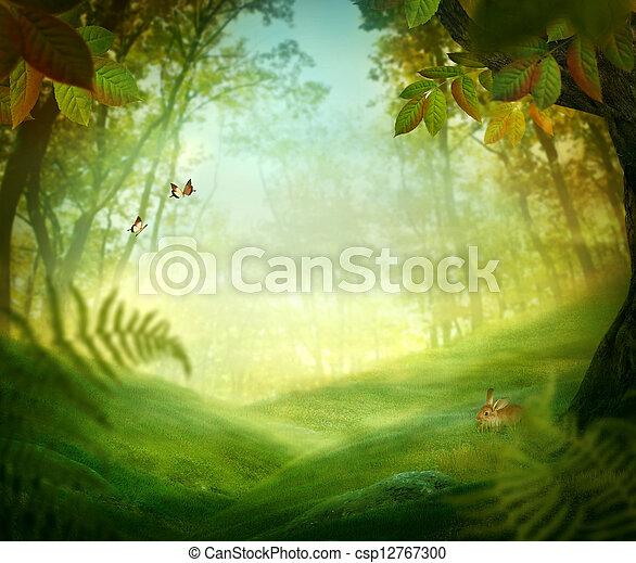 primavera, desenho,  -, floresta, prado - csp12767300