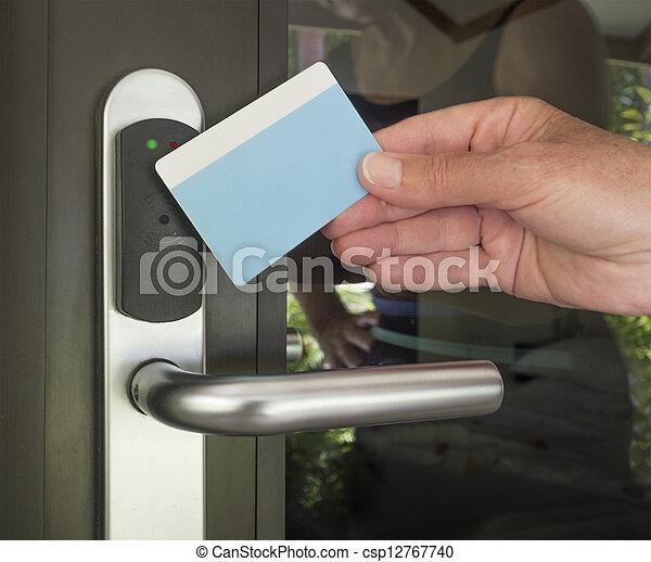 entrata, sicurezza, chiave, Scheda - csp12767740