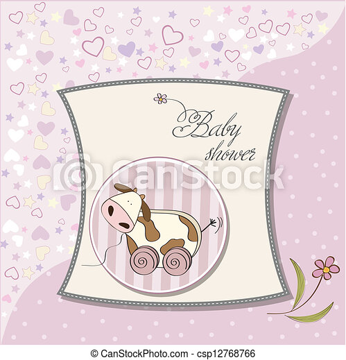 Baby shower card with cute cow toy - csp12768766