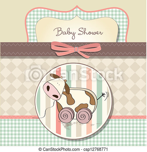 Baby shower card with cute cow toy - csp12768771