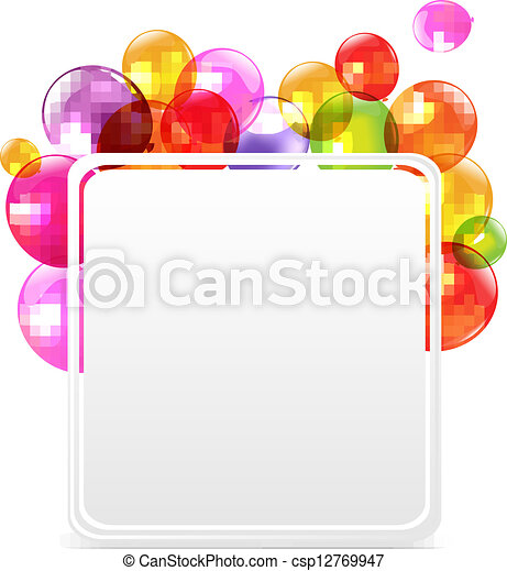Happy Birthday Card With Color Balloons - csp12769947
