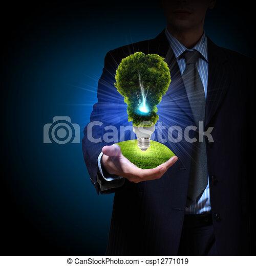 clean energy. green light bulb - csp12771019