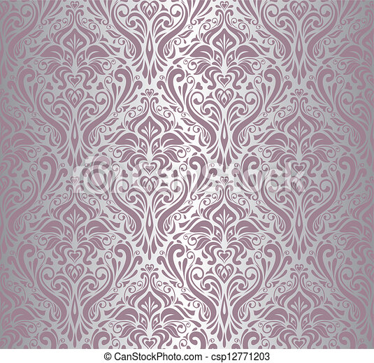 Vector clip art de rosa y plata vendimia papel pintado for Papel pintado rosa y gris