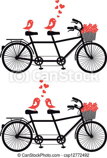 bicycle with love birds, vector - csp12772492