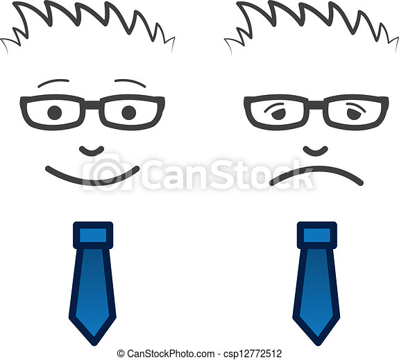 Vector Clip Art of Business Face Happy Sad - Businessmans face with ...