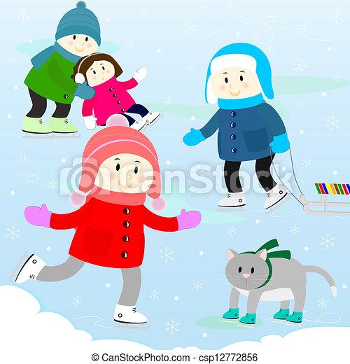 Vecteur clipart de patinage enfants patinoire enfants et les chat csp12772856 - Dessin patinoire ...