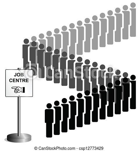 Arbeitslos leute anstehen an a arbeit zentrum zeichen