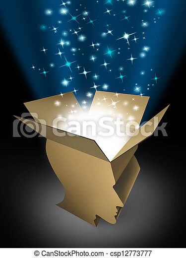 Power of the mind and powerful intelligence with an open box in the shape of a human head illuminated with a glowing beaming light bursting with sparkles as a symbol of human creativity and potential.