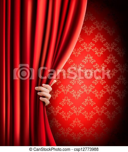 Background with red velvet curtain and hand. Vector illustration. - csp12773988