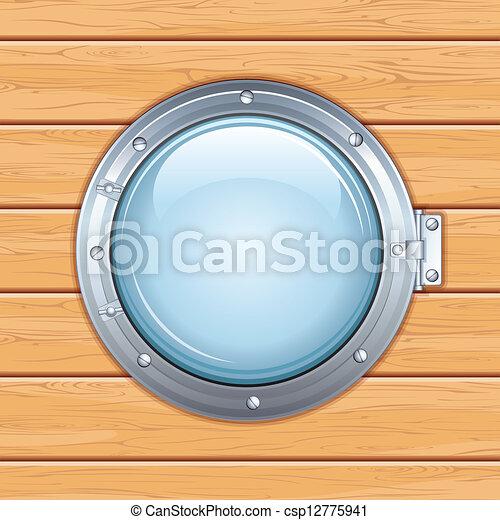 Vecteur eps de hublot fen tre bois bateau vecteur for Fenetre hublot