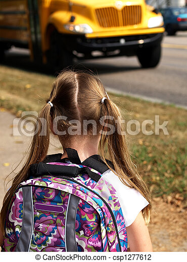 girl waiting for school bus - csp1277612