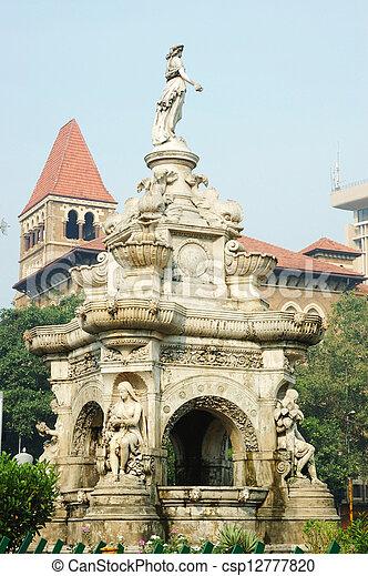 Famous landmark of Mumbai (Bombay) - Flora fountain - csp12777820