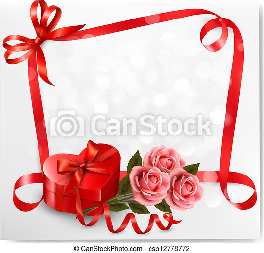 Holiday background with red heart-shaped gift box and flowers. Valentine's background. Vector illustration. - csp12778772