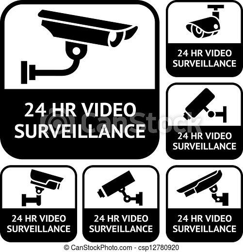 CCTV labels. Set symbols video surveillance, vector illustration - csp12780920