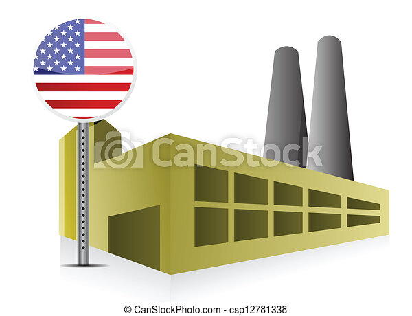American US Industrial building factory and power - csp12781338