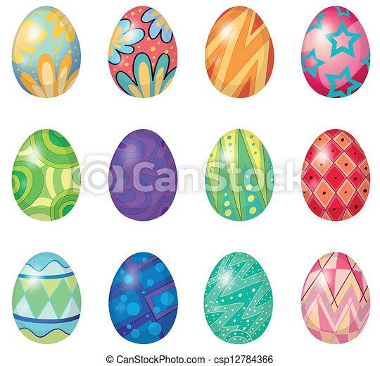 Twelve easter eggs - csp12784366