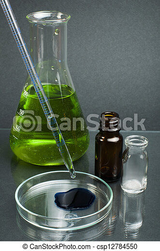 Laboratory beaker filled with green color liquid substances