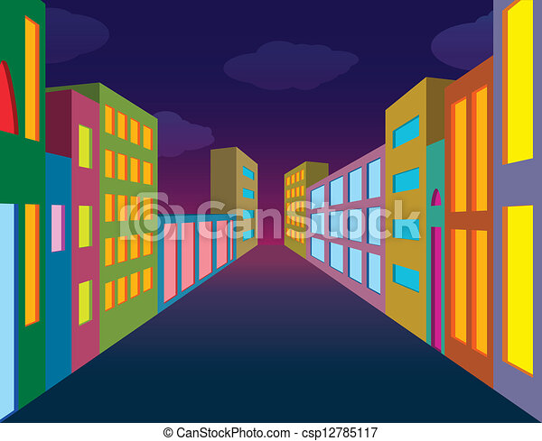 Vector Clip Art of Night city street with neon lightened #1: can stock photo csp