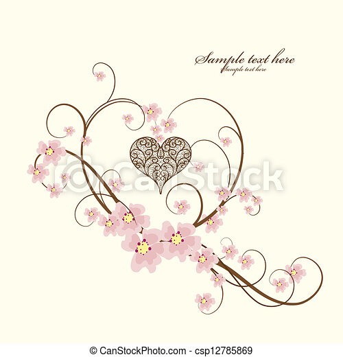 Ornamental frame heart with place for your text - csp12785869