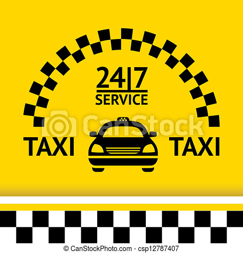 Taxi symbol, and car on the  background - csp12787407
