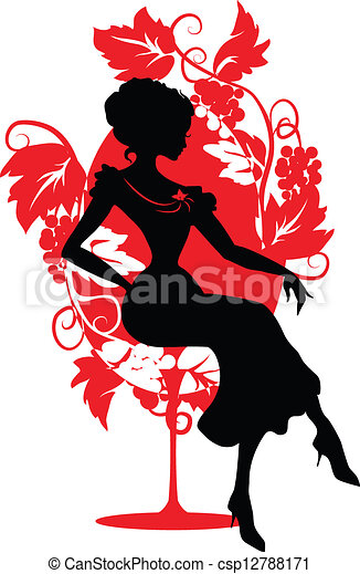 Silhouette of woman sitting on a chair - csp12788171