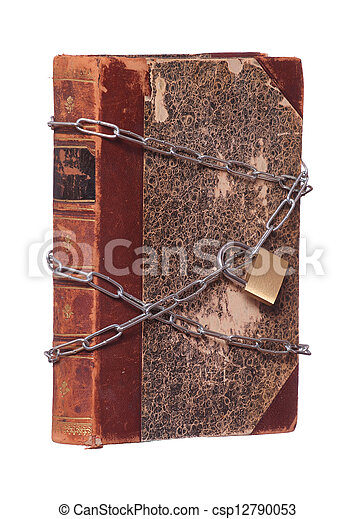 old historic book protected with padlock and chain - csp12790053