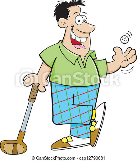 Vector - Cartoon Man Playing Golf - stock illustration, royalty free ...