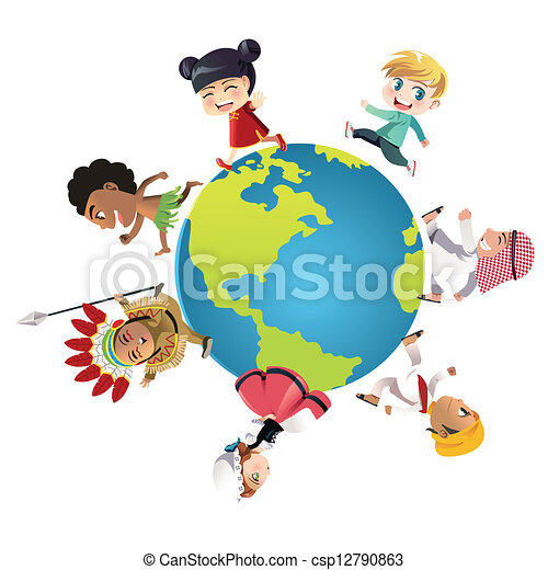 Clip Art Vector Of Unity A Illustration Kids In Different Csp12790863 Search