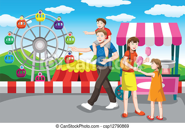 Clip Art Vector Of Happy Family Going On A Vacation A