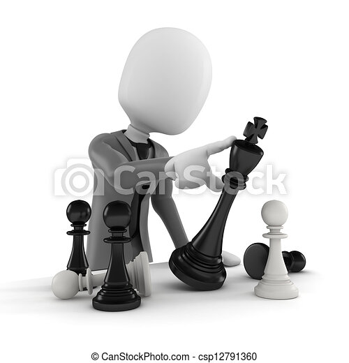 3d man pushing a chess figure -  business concept and strategy - csp12791360