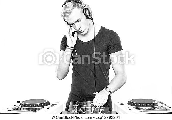 DJ at work in front of white background - csp12792204