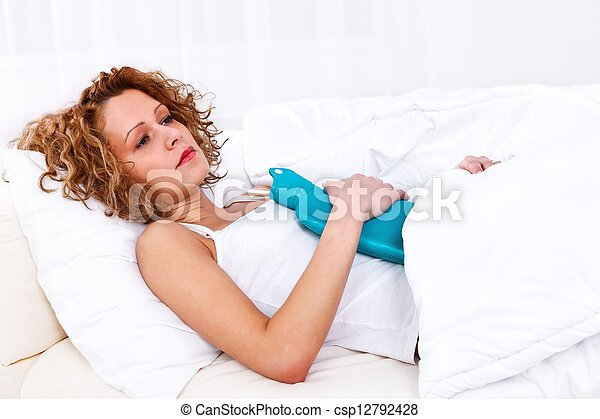 Woman having stomach pain - csp12792428