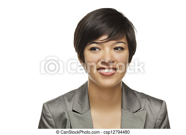 Young Adult Mixed Race Adult Looking to the Side - csp12794480
