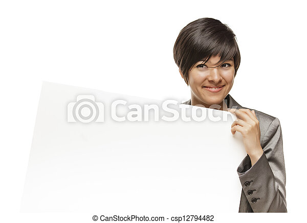Mixed Race Young Adult Female Holding Blank White Sign - csp12794482