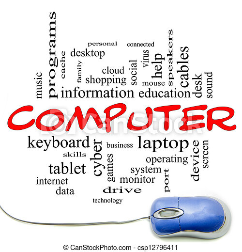 Computer Word Cloud Concept with a Blue Mouse - csp12796411
