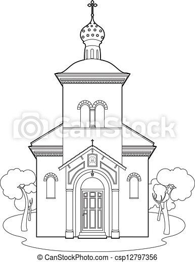Drawing orthodox church - csp12797356