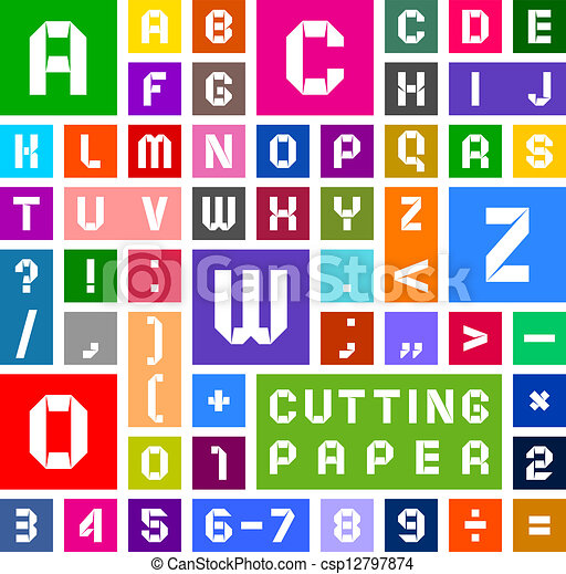 Alphabet of paper, cut out, white on multicolor background - csp12797874