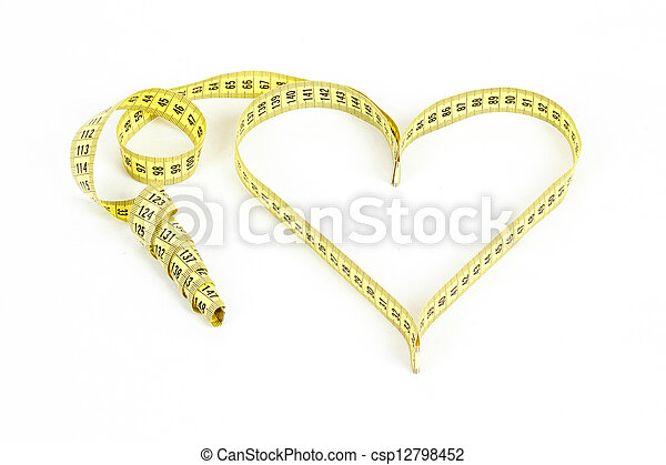 Tape measure heart shape - health, weight concept - csp12798452