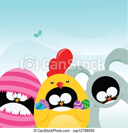 Penguins With Easter Costumes - csp12798559