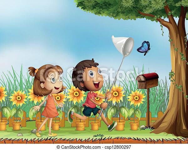 дети ловят бабочек картинка для детей