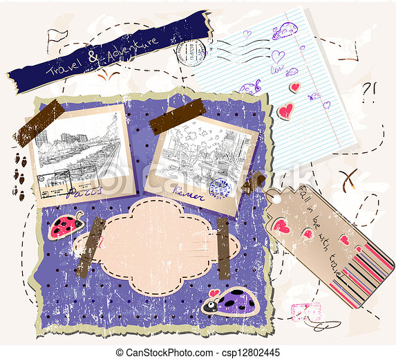 scrapbooking set with stamps and photo frames. - csp12802445