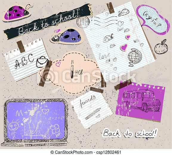 scrapbooking set with school elements. - csp12802461