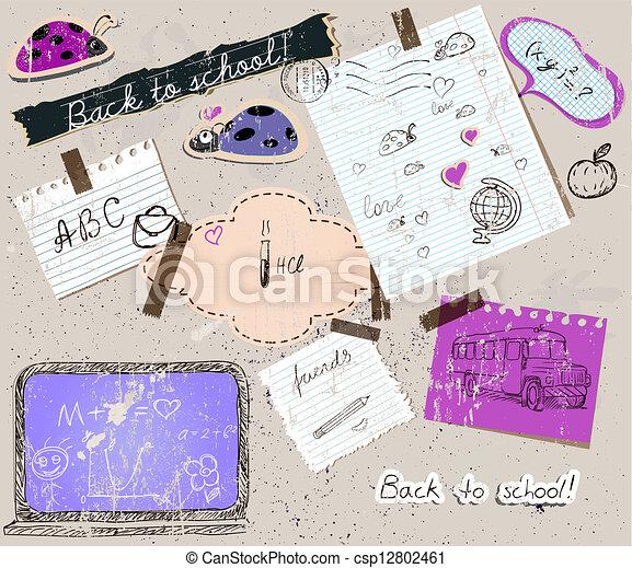 scrapbooking set with school elements. - csp12802461