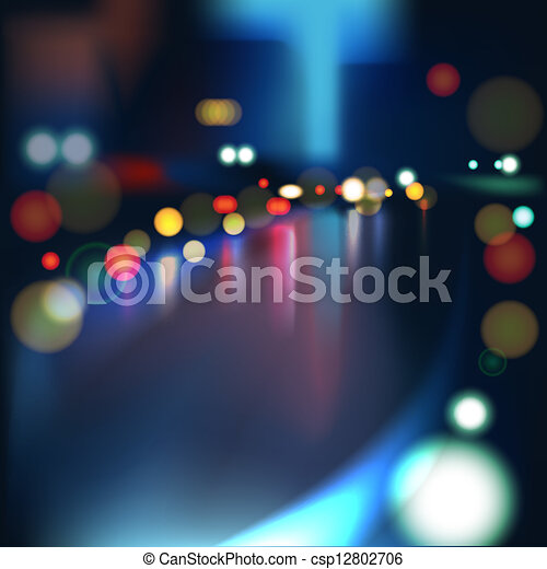 Blurred Defocused Lights of Heavy Traffic on a Wet Rainy City Road at Night. - csp12802706
