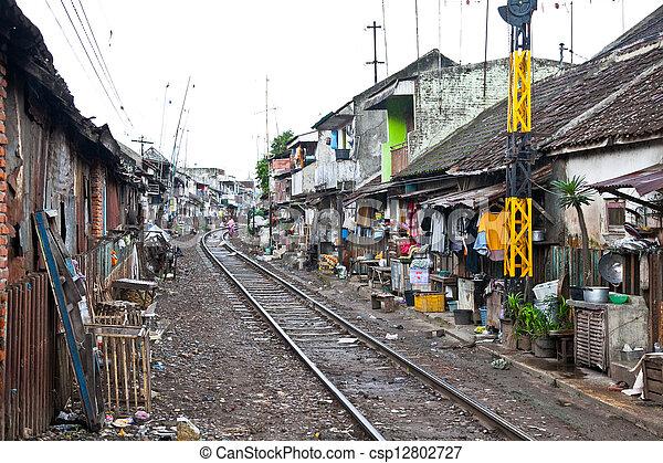 Unidentified poor people living in slum, Indonesia. - csp12802727
