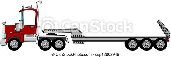 Truck & lowboy trailer - csp12802949