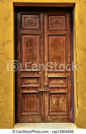Antique wooden door - csp12804566