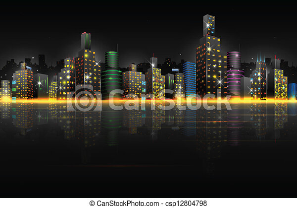 Night Scene of City - csp12804798