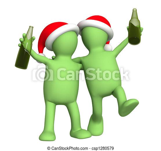 3d puppets - friends celebrating Christmas - csp1280579