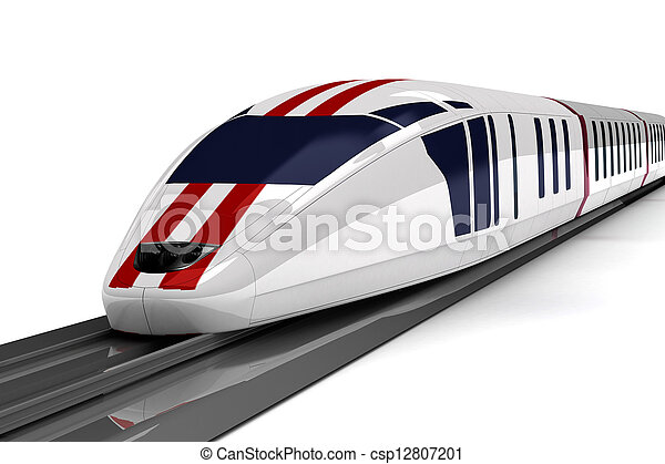 high-speed train on a white background - csp12807201